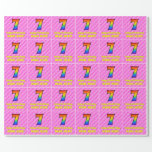 [ Thumbnail: 7th Birthday: Pink Stripes & Hearts, Rainbow # 7 Wrapping Paper ]