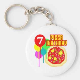 7th Birthday Pizza Birthday Basic Round Button Keychain
