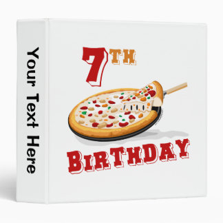 7th Birthday Pizza Party 3 Ring Binder