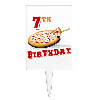 7th Birthday Pizza Party Cake Picks