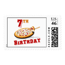 7th Birthday Pizza Party Postage Stamps