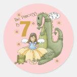 7th Birthday Princess Round Stickers