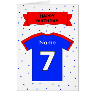 7th birthday red blue t-shirt add a name greeting cards