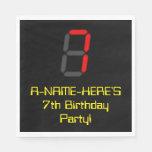 "[ Thumbnail: 7th Birthday: Red Digital Clock Style ""7"" + Name Napkins ]"