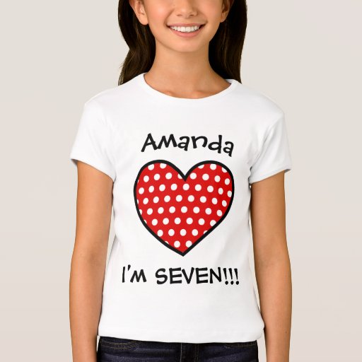 7th Birthday Red Polka Dot Heart W03B T-Shirt