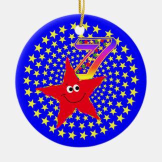 7th Birthday Red Smiley Star Round Ornament