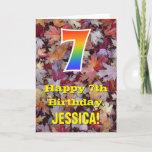 "[ Thumbnail: 7th Birthday; Rustic Autumn Leaves; Rainbow ""7"" Card ]"
