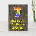 "[ Thumbnail: 7th Birthday: Rustic Faux Wood Look, Rainbow ""7"" Card ]"