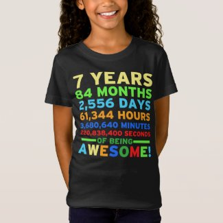 7th Birthday Shirt Boy Girl Seven Years of Awesome