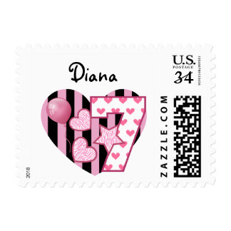 7th Birthday Stamp with Pink Hearts and Stripes