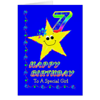 7th Birthday Stars for Girls Card