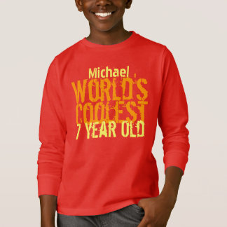 7th Birthday World's Coolest 7 Year Old Red Gold T-Shirt