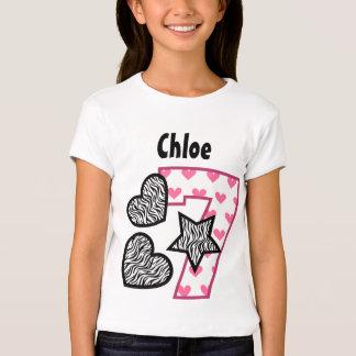 7th Birthday Zebra Hearts Seven Year Old 10F T-Shirt