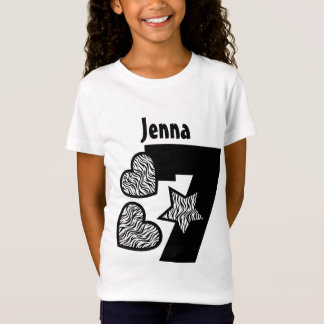 7th Birthday Zebra Star and Hearts Seven Years W1 T-Shirt