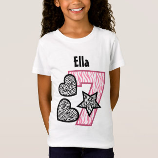 7th Birthday Zebra Star and Hearts Seven Years W4 T-Shirt