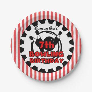 7th Bowling Sports Birthday Paper Plates