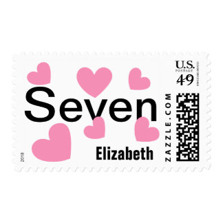 7th Girl's Birthday with Hearts PINK V01 Stamps