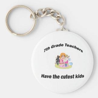 7th  grade and kids basic round button keychain