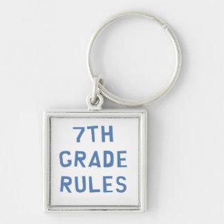 7th Grade Rules Silver-Colored Square Keychain