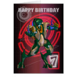7th Happy Birthday with Robot warrior Cards