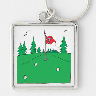 7th Hole Silver-Colored Square Keychain
