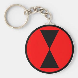 7th Infantry Division Basic Round Button Keychain
