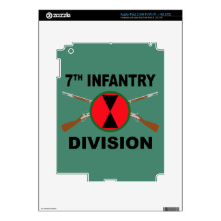 7th Infantry Division - Crossed Rifles - With Text Decal For iPad 3