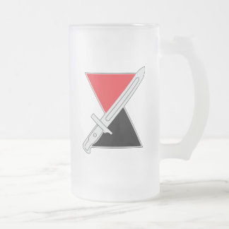 """7th Infantry Division """"Hourglass Division"""" Frosted Glass Beer Mug"""