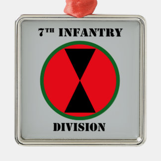 7th Infantry Division With Text Metal Ornament