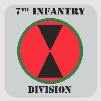 7th Infantry Division With Text Square Sticker