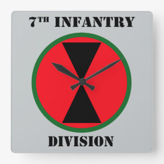 7th Infantry Division With Text Square Wall Clock
