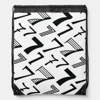 7th or 70th Birthday or Anniversary Seven Pattern Drawstring Bag