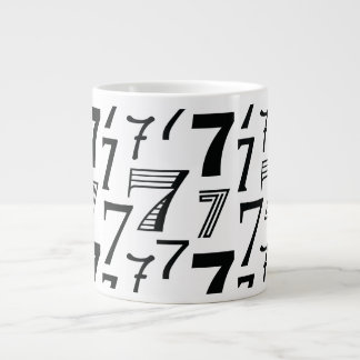 7th or 70th Birthday or Anniversary Seven Pattern Large Coffee Mug