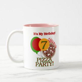 7th Pizza Party Birthday Two-Tone Coffee Mug