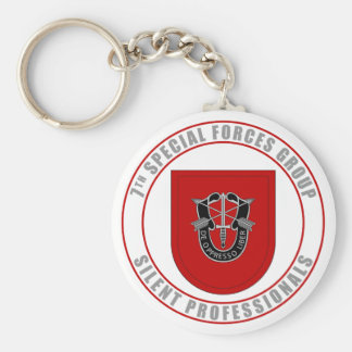 7th Special Forces Group Basic Round Button Keychain