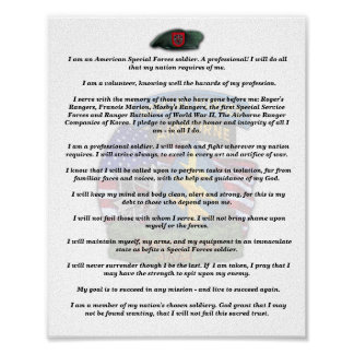 7th special forces group veterans vets creed print