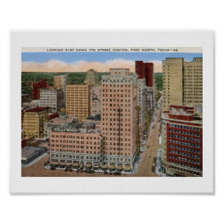 7th Street Canyon, Fort Worth, Texas Vintage Poster