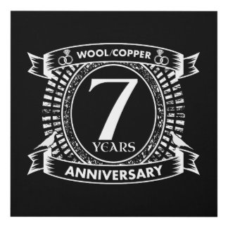 7TH wedding anniversary wool copper Panel Wall Art