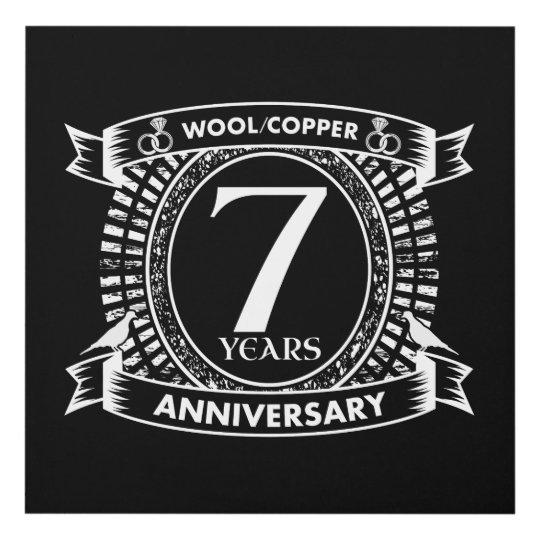 7th Wedding Anniversary Wool Copper Panel Wall Art Zazzle