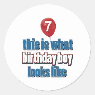 7th year birthday designs classic round sticker