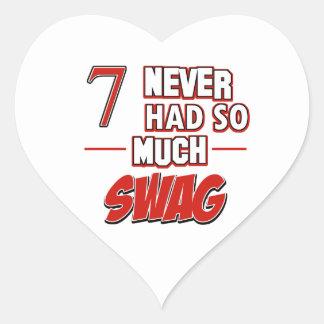 7th year birthday designs heart sticker