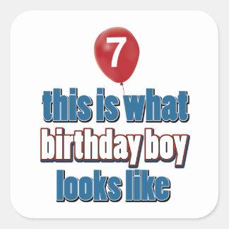 7th year birthday designs square sticker