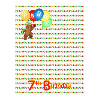 7thBirthday Party Royal Bear Scrapbook  Paper 3 Full Color Flyer
