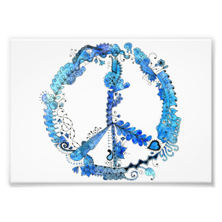 7x5 Illustrated Art Peace Sign Blue Photo Print