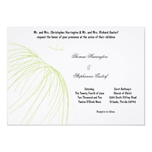 7x5 Light Green Dress Wedding Invitation