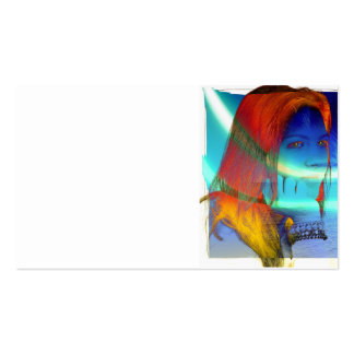 8001 COLORFUL FASHION WOMAN DAYDREAMING MEMORIES C BUSINESS CARD