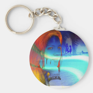 8001 COLORFUL FASHION WOMAN DAYDREAMING MEMORIES C KEYCHAIN