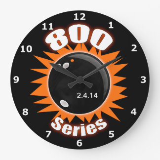 800 Series in Black and Orange Large Clock