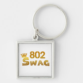 802 Vermont Swag Silver-Colored Square Keychain