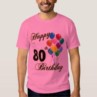 80.a camiseta feliz del cumpleaños poleras